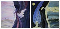 """Символизм ручной работы. Заказать Богини Ночи (Диптих). . Ночь, картинаДиптих """" выполнен в смешанной технике: гуашь, акварель, тушь. Обе картины созданы под впечатлением от работ художников стиля арт-деко, с их глубокой чувственностью и загадочностью в написании женских образов. С условностью в решении пространства и декоративности в исполнении волос."""