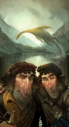 The mysterious creature in the Scottish lake 'Loch Ness' photobombs two men's selfie in this fun piece by Utah-based illustrator Jim Madsen. Weird Creatures, Fantasy Creatures, Mythical Creatures, Sea Creatures, Fantasy Landscape, Fantasy Art, Lago Ness, Loch Ness Monster, Love Illustration