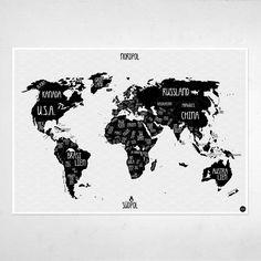Illustrierte Weltkarte in schwarz weiß mit Illustrationen von Tieren, nicht nur für Kinder und Schulkinder. Druck schwarz weiß 84 x 59,4 cm Papier 170g Bilderdruck matt