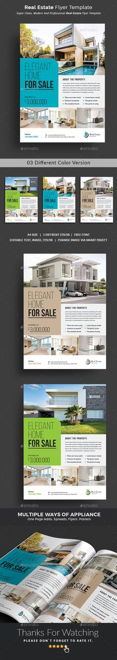 This #Real #Estate #Flyer Template is a great tool for promoting your real estate business also useful for a realtor or a real estate agent. You can use it for real estate listings, advertising homes or property for sale,or houses for rent. Fully editable template, you can add images of your choice and change the texts.