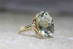 ANTIQUE 14k YELLOW GOLD GREEN AMETHYST CHECKERBOARD RING LADIES