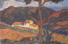 Peinture Algérie - Paysan à la chèvre par Augustin Ferrando