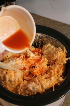 Buffalo chicken dip..... 2 cans chunk chicken 1 cup ranch  2 (8oz) cream cheese 2 cups shed cheese Franks hot sauce to desired taste.  Crock pot :)
