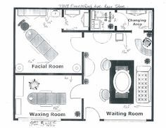 This would be my one-woman day spa set up. The facial room would be my massage/body treatment room. I would remove the cabinets from the closet and install a really good shower. The waxing room would then become my facial/waxing room. I would need to install a sink and make sure that each room is at least 80-100 sq. ft. The changing room would become my new laundry room. Then viola! The day spa would then be open for business.
