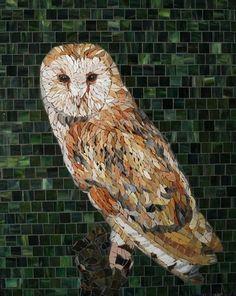 I wonder if you did one like this up high enough if it would work like a scarecrow? Owl Mosaic, Mosaic Birds, Mosaic Art, Tile Mosaics, Stone Flooring, Flooring Ideas, Mosaic Animals, Beautiful Owl, Mosaic Ideas