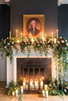 30 Winter Wedding Arches And Altars To Get Inspired: A non-working fireplace decorated with candles, greenery and blush and red roses (Diy Wedding Arch) Wedding Mantle, Winter Wedding Arch, Church Wedding Decorations, Wedding Ceremony, Wedding Arches, Wedding Church, Ceremony Backdrop, Wedding Fireplace Decorations, Backdrop Ideas