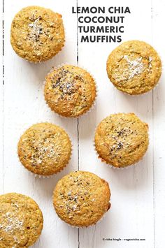 Lemon Coconut Chia Muffins. Zesty Muffins with Lemon, chia seeds, coconut and Turmeric. 1 bowl 20 minute muffins. Vegan Soy-free Nut-free Oil-free Recipe