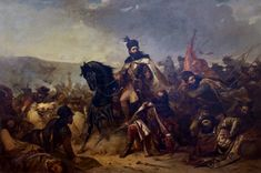 This is a painting of Theodor Aman, a Romanian painter, depicting a battle in Romanian history, of the ruler Stefan the Great.