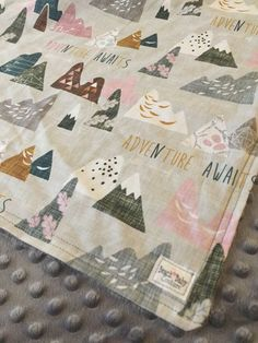 Adventure Baby Girl Bedding - crib or toddler bed, blanket, boppy, sheet, bumpers, pillow, changing pad, mountains, rustic, outdoors, pink