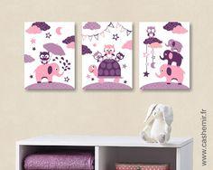 Lot de 3 affiches pour chambre d'enfant fille, poster illustration décoration chambre bébé, réf.36 rose violet : Chambre d'enfant, de bébé par cashemir