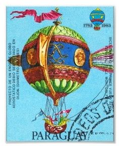 Vintage Steampunk Paraguay Postage Stamp Hot Air Balloon Archival Print.  © 2012 Idea Obscura. All Rights Reserved.