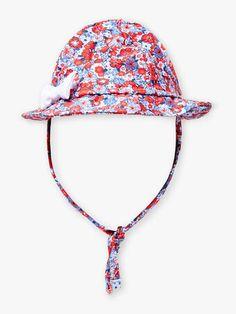 Chapeau bleu et rouge à imprimé fleuri bébé fille Beach Kids, Bleu Marine, Collection, Hats, Accessories, Red, Blue Rooms, Hat, Hipster Hat