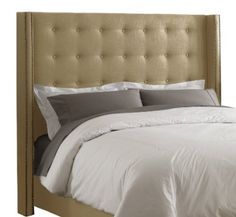 Skyline Furniture California King Nail Button Tufted Headboard in Linen Sandstone with Bra. Tufted Upholstered Headboard, Headboard, Home Bedroom, Furniture, Diy Headboard Upholstered, King Size Headboard, Home Decor, Skyline Furniture, Headboards For Beds