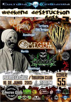 """Cresta Metálica Producciones » CULTURA SUBTERRANEA & TIBURON CLUB PRESENTAN: """"WEEKEND DESTRUCTION FEST 3″ (PUERTO LA CRUZ) // 16-06-2012"""