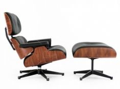 Eames Style Lounge Chair & Ottoman - Rosewood / Black Leather