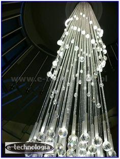 Oświetlenie schodowe LED i żyrandol światłowodowy Korona