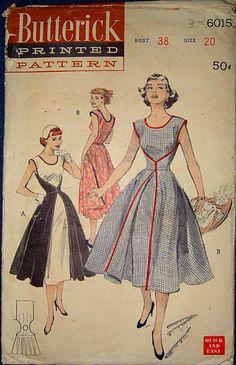 one+piece+apron+dress | ... 6015 vintage sewing pattern wrap apron Walkaway dress HTF bust 38
