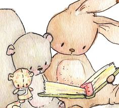Children Art Print. Reading Threesome. PRINT. 8X10. by LoxlyHollow, $24.00