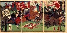九州植木口激戦図 桐野と野津少将の一騎討