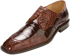 "Belvedere ""Cane""Brandy/Brown Genuine Crocodile Belly/Eel Shoes"