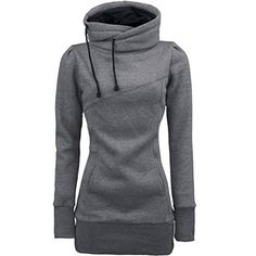 XUANOU Women High Collar Long Style Slim Pullover T Shirt Long Sleeve Blouse Medium Grey ** Read more reviews of the product by visiting the link on the image.