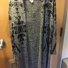 Gray, black, blue tribal long cardigan. Fits as it says, long, light and comfortable. Never worn, but the tag was removed. Mossimo Supply Co Sweaters Cardigans