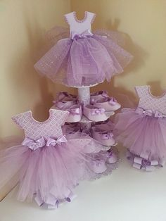 Three Tier Lavender Ballerina Shoe Favor by TheCarriageShoppe