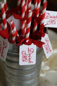 CARNIVAL STRAWS  Drink Me  Wedding Party Shower  by PinkCherryMama