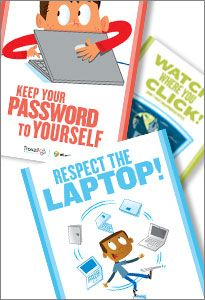 8 fun posters illustrating tech rules for the classroom. Free download.