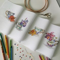 Beautiful teacups and flowers. Monogram Cross Stitch, Cross Stitch Cards, Cross Stitch Rose, Cross Stitch Flowers, Modern Cross Stitch Patterns, Cross Stitch Designs, Embroidery Hoop Art, Embroidery Stitches, Needlework