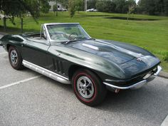 '65 Glenn Green Corvette Convertible with 327 CID, 4 speed, Vintage Air, Side Pipes, Original wheels and hubcaps, rust free chassis, big block hood is GM, not aftermarket. Drive this car anywhere. Corvette Convertible, Vintage Air, Rust Free, Corvettes, Chevrolet Corvette, Pipes, Cool Cars, Classic Cars, Motorcycles