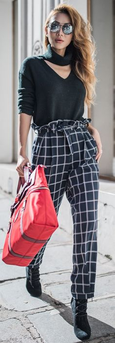 #fall #musthave #trends | Black and White + Checks + Pop Of Red