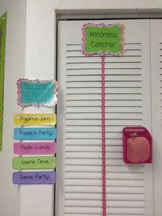 "Kindergarten classroom decor! A kindness catcher. Used in lieu of a typical classroom behavior chart. When a student, group of students, or the entire class are ""caught"" performing a random act of kindness, their name is written on an apple and stacked on the catcher. When the stack reaches the top, the class gets a prize."