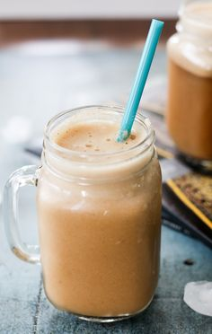 dairy free blended iced almond coffee  - no refined sugar added!