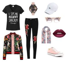 """""""Roses"""" by drey-harper on Polyvore featuring TKO Tees, WearAll, Converse, Jimmy Choo, Accessorize, Gucci, Lime Crime and Olivia Burton"""