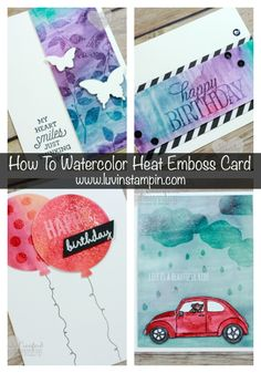 Luvin Stampin: Clear Heat Embossing Watercolor Technique March 7, 2016 a fun watercolor background technique that uses clear heat embossing. Wendy Cranford https://www.youtube.com/watch?v=PupMfCT2TEw