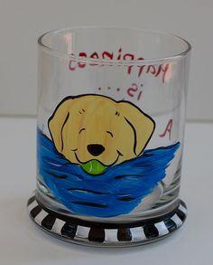 Labrador Retriever hand painted votive yellow lab by JennysDogArt, $16.00