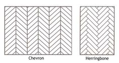 Important distinction, design kids: CHEVRON vs. Not the same pattern. Chevron tile are more expensive. You can just install a simple rectangular tile in a herringbone pattern. Floor Patterns, Tile Patterns, Tuile Chevron, Grey Chevron, Herringbone Pattern, Herringbone Floors, Chevron Tile Pattern, White Herringbone Tile, Piece A Vivre