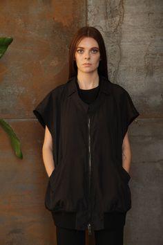 BALENCIAGA NWT Black Silk Oversized Nylon Bomber Zip Jacket Blouse Top Vest 40/8 #Balenciaga ON SALE AT GIFT OF GARB DESIGNER CONSIGNMENT