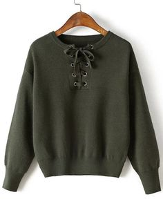 Shop Army Green Eyelet Lace Up Drop Shoulder Sweater online. SheIn offers Army Green Eyelet Lace Up Drop Shoulder Sweater & more to fit your fashionable needs. Teen Fashion Outfits, Trendy Fashion, Fast Fashion, Fashion Styles, Eyelet Lace, Lace Up, Gothic Party, Long Sweaters, Sweaters For Women