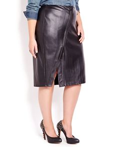 Rock this edgy Love & Legend faux leather skirt! Features asymmetrical zipper closure at front and fake metal zipper pocket. 27 inch length. Try it with a cool cropped jacket!