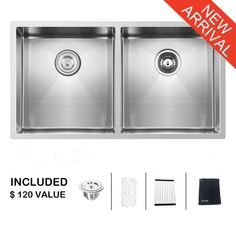 10. Ufaucet Commercial 33 Inch 16 Gauge Undermount Double Bowl Stainless Steel Sink