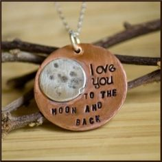 """Quote from """"Guess How Much I Love You"""" children's book and popular phrase that mommies often say to their kiddos!  Copper and silver!"""