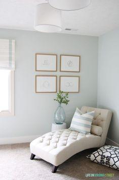 Wall paint color is Healing Aloe Benjamin Moore