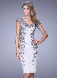Sheath/Column V-neck Knee-Length Appliques Lace Satin Zipper Up Cap Straps Short Sleeves No White Spring Summer Fall Evening Dress