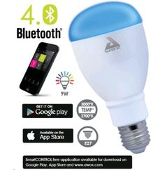 AwoX SmartLIGHT Color 9W LED with Bluetooth Control E27. https://www.lightonline.com.au/led-gls-lights/awox-smartlight-color-9w-led-with-bluetooth-control-e27