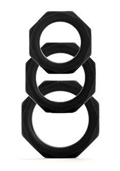 Shots Toys Octagon Rings - 3 Größen - schwarz - Penisringe