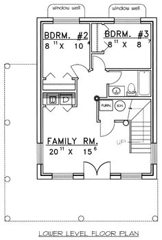 Lower Floor Plan of Log   House Plan 87000
