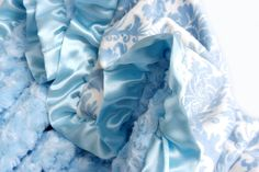 Minky Baby Blanket Blue Damask with Satin Ruffle by babyboos, $45.00
