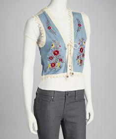 Take a look at this Blue Embroidered Flower Vest by Funky People on @zulily today!